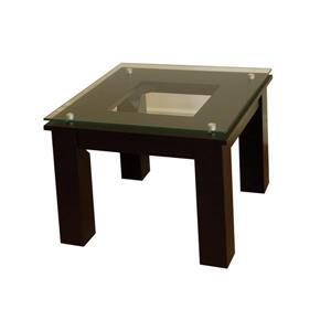 """Table d'appoint Plateau, fini noir et verre clair, 19"""" x 19"""""""
