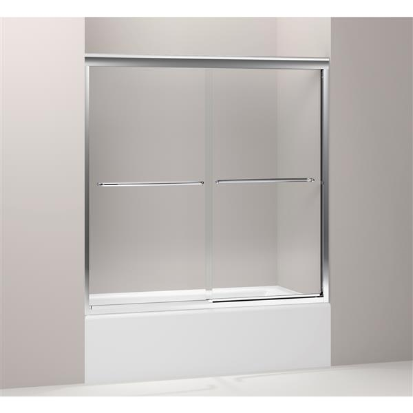 KOHLER Fluence Sliding Shower Door - 59.7-in - Glass - Silver