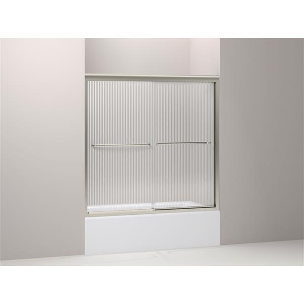KOHLER Fluence Shower Door - 59.4-in x 58.4-in - Glass - Nickel
