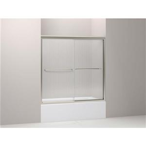 "Porte de douche Fluence, 59,4"" x 58,4"", verre, nickel"