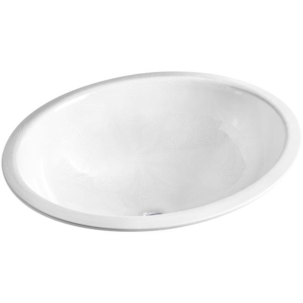 KOHLER Undermount Sink - 16.13-in x 8.25-in - Porcelain - White