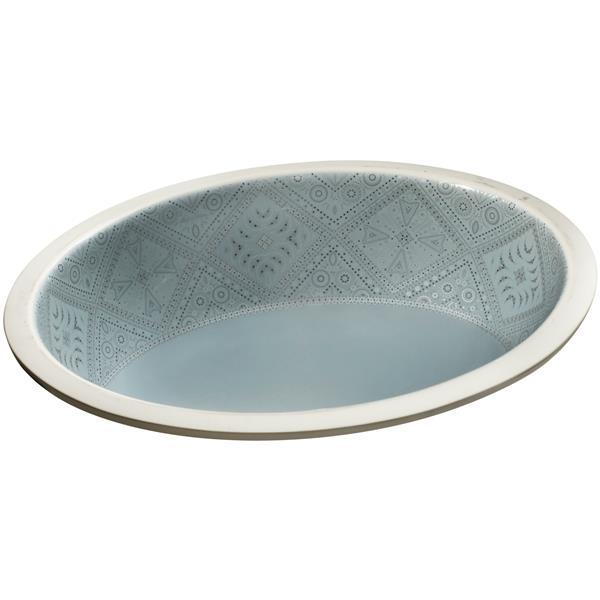 KOHLER Undermount Sink - 16.13-in x 8.2-in - Porcelain - Blue