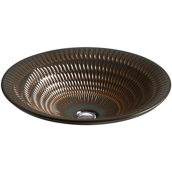 KOHLER Derring Vessel Sink - 17.69-in x 6-in - Porcelain - Brown