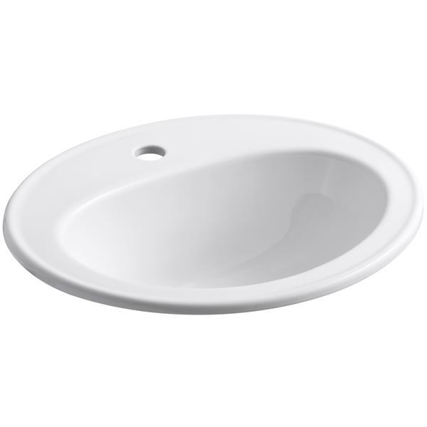 KOHLER Drop-in Sink - 17.5-in x 8.5-in - Porcelain - White