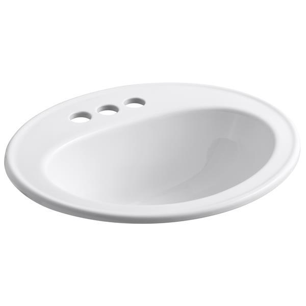 KOHLER Pennington Drop-in Sink - 17.5-in x 8.5-in - Porcelain - White