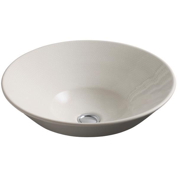 KOHLER Vessel Sink - 16.25-in x 6.38-in - Porcelain - Brown