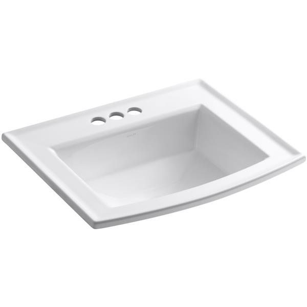 KOHLER Archer Drop-in Sink - 19.44-in x 7.88-in - Porcelain - White