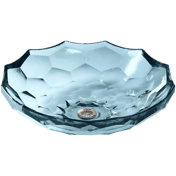 KOHLER Briolette Vessel Sink - 17.5-in x 4.75-in - Glass - Blue