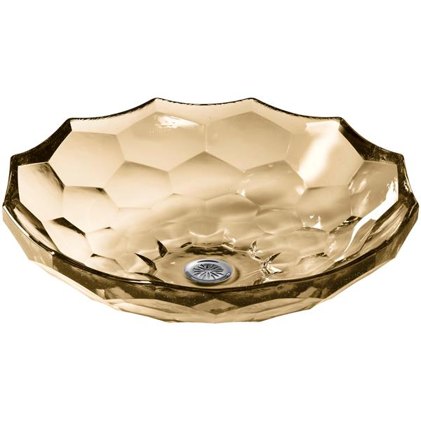 KOHLER Briolette Vessel Sink - 17.5-in x 4.75-in - Glass - Gold
