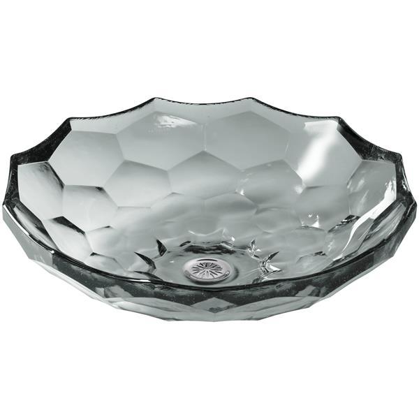 KOHLER Briolette Vessel Sink - 17.5-in x 4.75-in - Glass - Gray