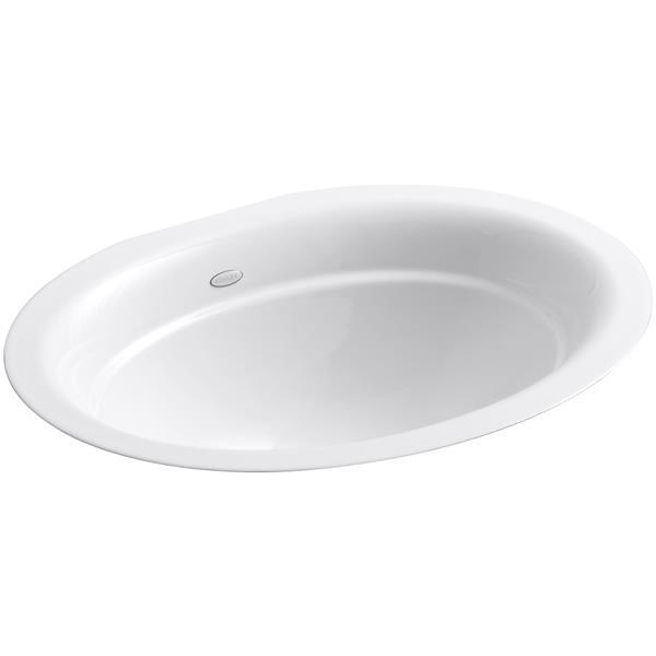 KOHLER Serif Undermount Sink - 15.25-in x 8.44-in - Cast Iron - White