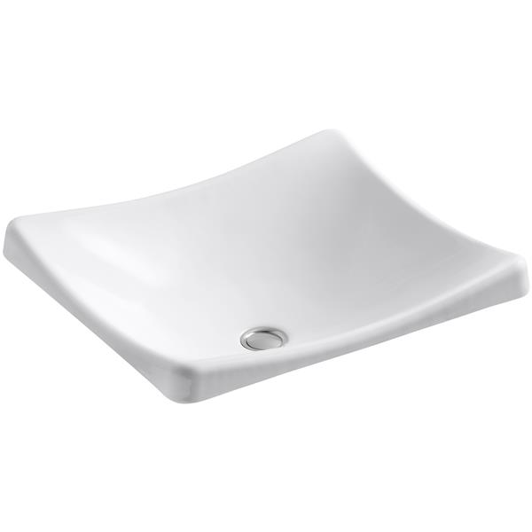 KOHLER DemiLav Vessel Sink - 15.63-in x 7-in - Cast Iron - White