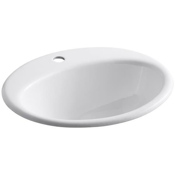 KOHLER Farmington Drop-in Sink - 16.25-in x 8.75-in - Cast Iron - White