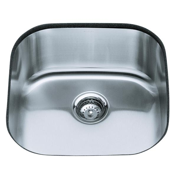 KOHLER Undertone Undermount Single Kitchen Sink - 19.63-in - Silver