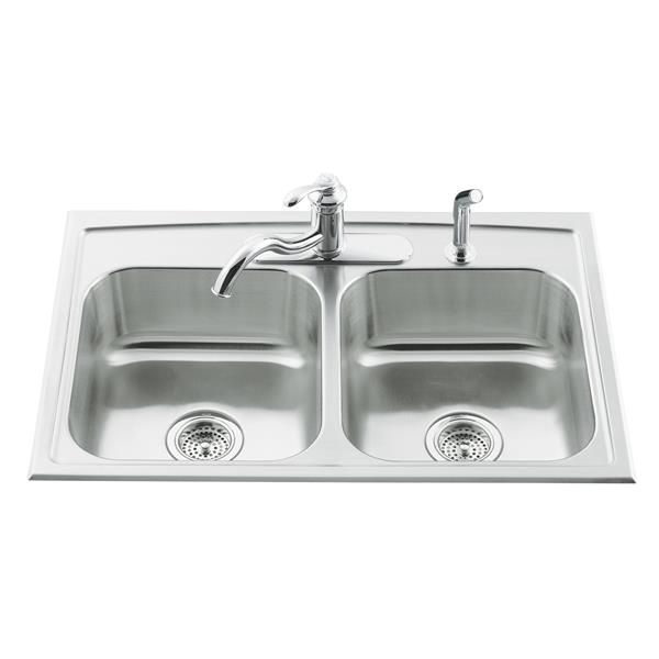 KOHLER Toccata Drop-in Double Kitchen Sink - 33-in - Silver