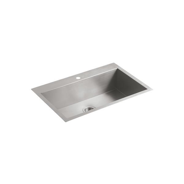 KOHLER Vault Drop-in Single Kitchen Sink - 33-in - Silver