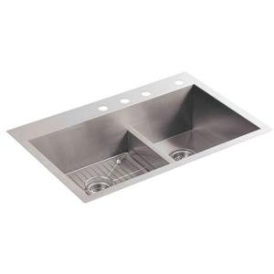 KOHLER Vault Drop-in Double Kitchen Sink - 33-in - Silver