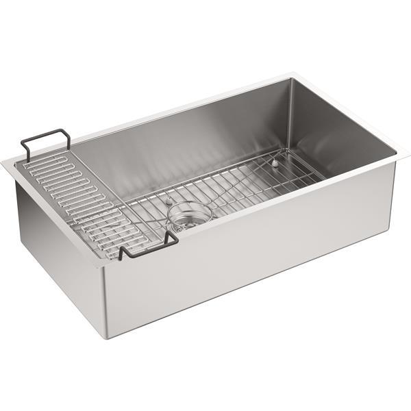KOHLER Strive Undermount Single Kitchen Sink - 32-in - Silver