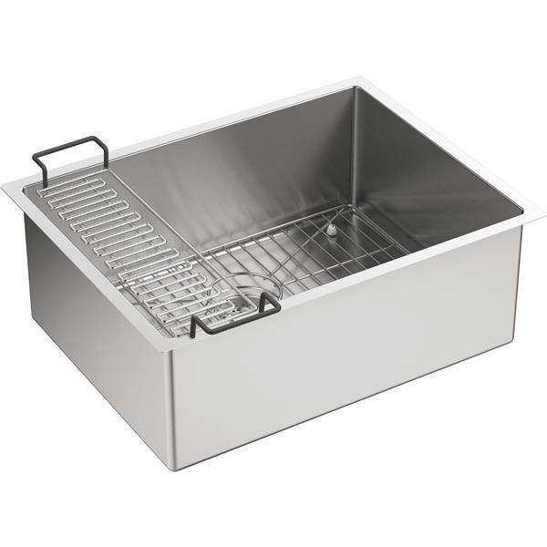 KOHLER Strive Undermount Single Kitchen Sink - 24-in - Silver