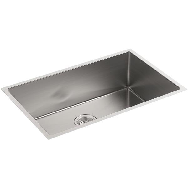 KOHLER Strive Undermount Single Kitchen Sink - 29-in - Silver