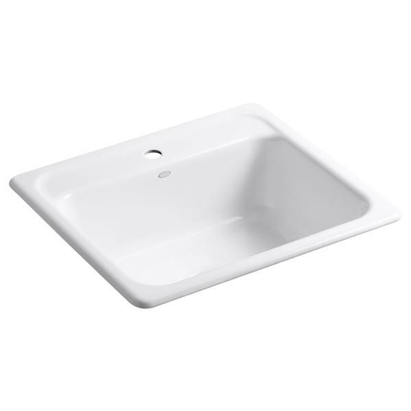 KOHLER Mayfield Drop-in Single Kitchen Sink - 25-in - White