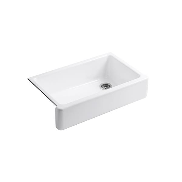 KOHLER Whitehaven Undermount Single Kitchen Sink - 35.69-in - White
