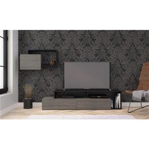 Nexera Damask Entertainment Set - Bark Grey & Black - 2-Piece
