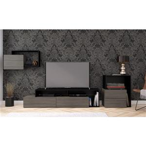 Nexera Damask Entertainment Set - Bark Grey & Black - 3-Piece