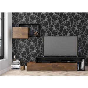 Ensemble meuble télé et étagère Paisley, truffe et noir