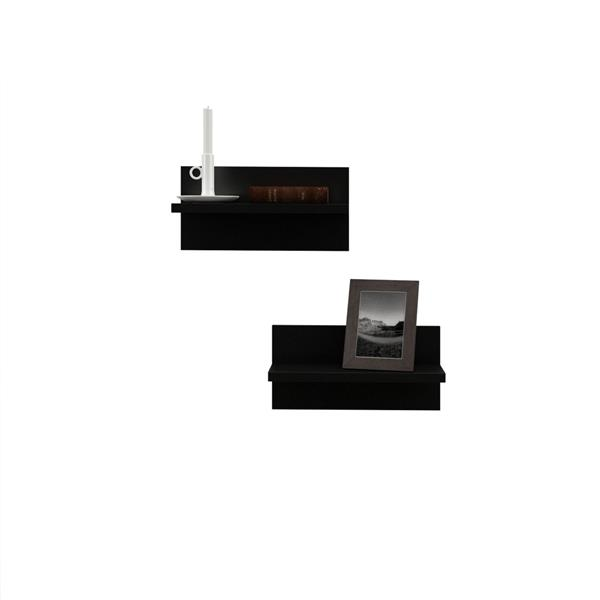Nexera Sereni-T TV Stand /  Wall Shelves - Black and Ebony