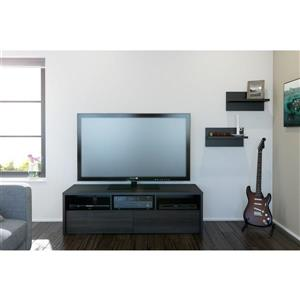 Nexera Sereni-T TV Stand /  Wall Shelves - Black and Ebony