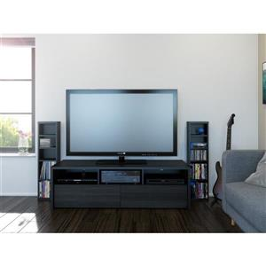 Nexera Sereni-T TV Stand/Audio Cabinet - Black and Ebony - 2-piece
