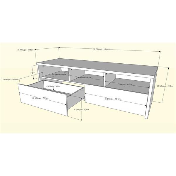 Nexera Liber-T TV Stand and Audio Cabinet, White and Walnut