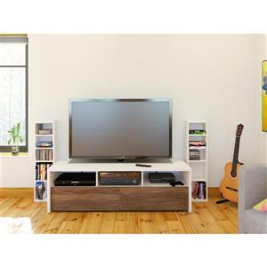 Nexera Liber-T TV Stand and Audio Cabinet, White and Walnut