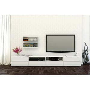 Ensemble meuble télé et étagères murales Blvd, blanc