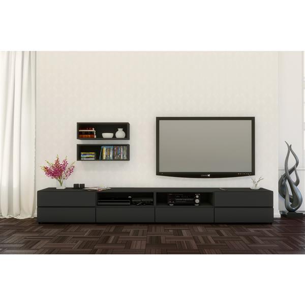 Nexera Avenue TV Stand and Wall Shelves - Black  - 3-Piece
