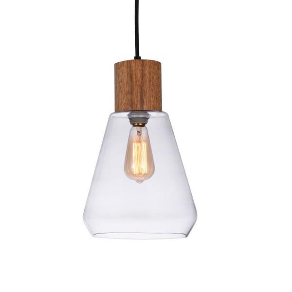 """P.W. Design Lorene Pendant 1-Light Teardrop - Clear Glass - 72"""""""
