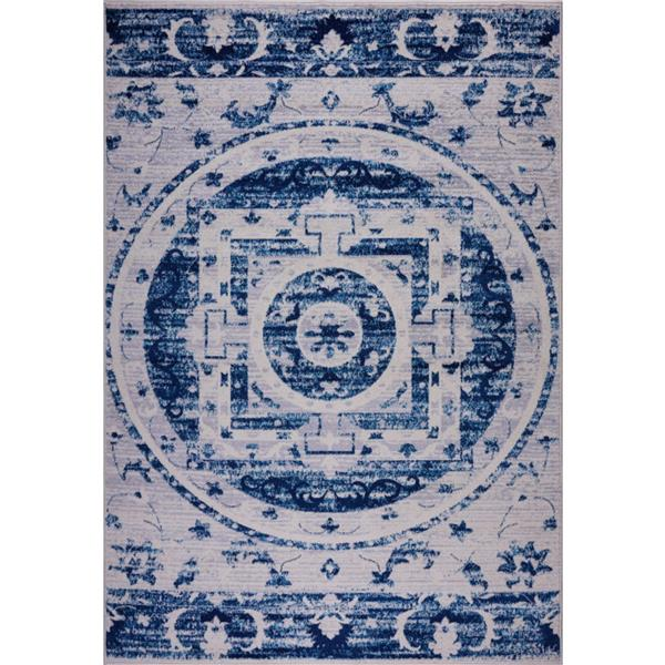 La Dole Rugs®  Kahina Traditional Botanical Area Rug - 7' x 10' - Blue