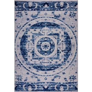 Tapis traditionnel botanique «Kahina», 4' x 6', bleu