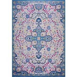 Tapis perse traditionnel «Darcy», 7' x 10', bleu