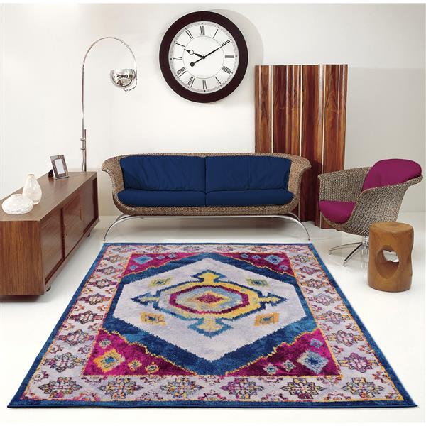 Tapis traditionnel «Huma Ikat», 7' x 10', violet/bleu
