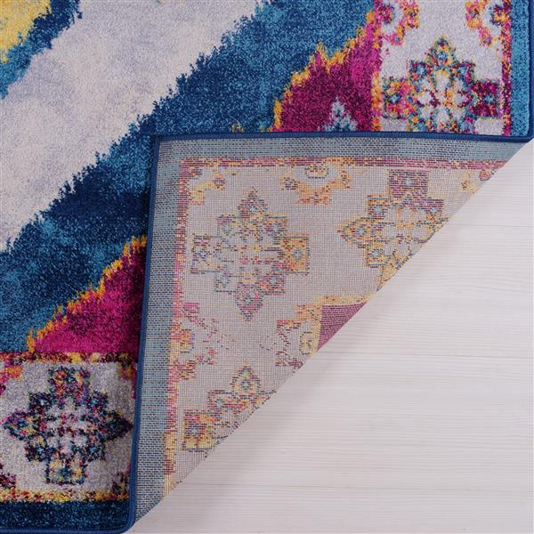 La Dole Rugs®  Big Huma Ikat Traditional Runner - 3' x 10' - Purple/Blue