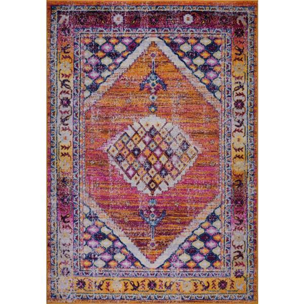 La Dole Rugs® Sapphire Traditional Area Rug - 8' x 11' - Orange/Burgundy