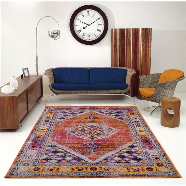 La Dole Rugs® Sapphire Traditional Area Rug - 5' x 8' - Orange/Burgundy