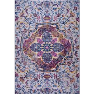 Tapis traditionnel rectangulaire «Maya», 2' x 3', bleu/rose