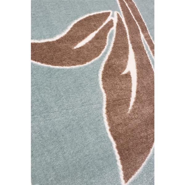 La Dole Rugs®  Gray Floral Contemporary Area Rug - 8' x 11' - Blue