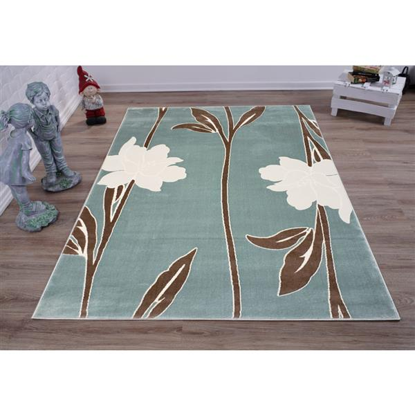 La Dole Rugs®  Gray Floral Contemporary Area Rug - 7' x 10' - Blue