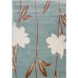 Tapis floral contemporain «Gray», 7' x 10', bleu