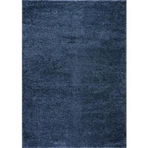 Tapis turque à poil long «Meknes», 4' x 6', bleu
