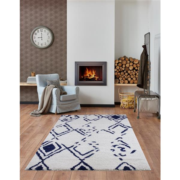 La Dole Rugs® Shaggy Kenitra Abstract Area Rug - 5' x 8' - White/Blue